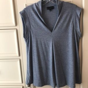 Bobeau collection soft blue heather blouse